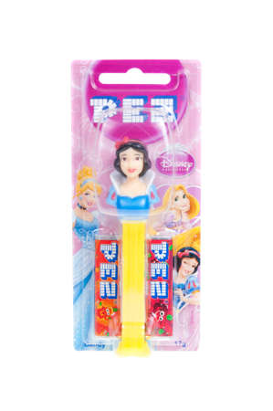 collectable: Adelaide, Australia - December 07, 2015: A Disney Princess Snow White Pez dispenser isolated on a white background. Pez is an Austrian company famous for its candy and its character mechanical dispensers. The Dispensers are highly sought after collectable