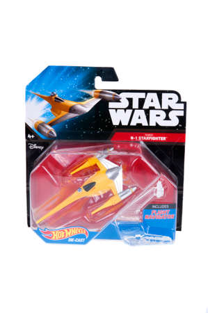 sought: Adelaide, Australia - December 20, 2015: An unopened Hot Wheels Star Wars Naboo Starfighter Diecast Vehicle. Merchandise from the Star Wars universe are highly sought after collectables. Editorial