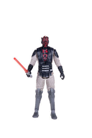 stormtrooper: Adelaide, Australia - December 02, 2015:An isolated shot of a 2015 Darth Maul action figure from the Star Wars movies.Merchandise from the Star Wars movies are highy sought after collectables. Editorial