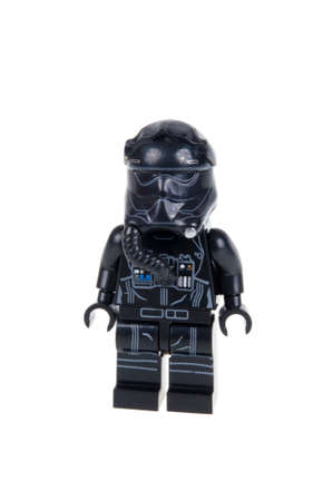fighter pilot: Adelaide, Australia - December 25, 2015: A studio shot of a First Order Tie Fighter Pilot Force Awakens minifigure from the Star Wars Force Awakens Movie. Lego is extremely popular worldwide with children and collectors. Editorial