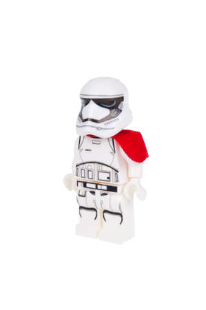 stormtrooper: Adelaide, Australia - December 25, 2015: A studio shot of a First Order Stormtrooper Force Awakens minifigure from the Star Wars Force Awakens Movie. Lego is extremely popular worldwide with children and collectors. Editorial