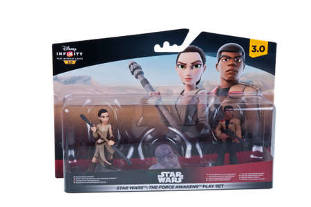 unopened: Adelaide, Australia - January 02, 2016: A studio shot of an unopened Star Wars The Force Awakens Disney Infinity 3.0 Play Set from the Star Wars movies. Star Wars merchandise are highly sought after collectables.