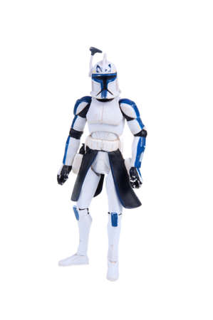 Adelaide, Australia - November 22, 2015: A studio shot of a Captain Rex Clone Trooper action figure from the movie series Star Wars. Merchandise from the Star Wars universe are highly sought after collectables.