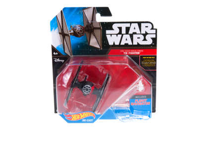 sought: Adelaide, Australia - December 11, 2015: An unopened Hot Wheels Star Wars First Order Special Forces Tie Fighter Diecast Vehicle. Merchandise from the Star Wars universe are highly sought after collectables.
