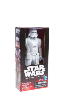 stormtrooper: Adelaide, Australia - December 02, 2015:An isolated shot of an unopened 2015 First Order Snowtrooper action figure from the Star Wars The Force Awakens movie.Merchandise from the Star Wars movies are highy sought after collectables.