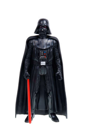 stormtrooper: Adelaide, Australia - December 02, 2015:An isolated shot of a 2015 Darth Vader action figure from the Star Wars The Force Awakens movie.Merchandise from the Star Wars movies are highy sought after collectables.