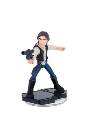 Adelaide, Australia - December 25, 2015: A studio shot of a Han Solo Disney Infinity 3.0 Figurine from the Star Wars movies. Marvel comics and movies are extremely popular worldwide.