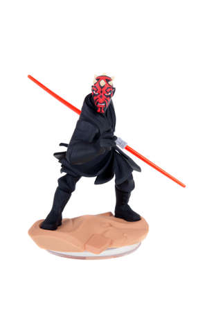 maul: Adelaide, Australia - December 25, 2015: A studio shot of a Darth Maul Disney Infinity 3.0 Figurine from the Star Wars movies. Marvel comics and movies are extremely popular worldwide.