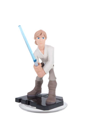 december 25: Adelaide, Australia - December 25, 2015: A studio shot of a Luke Skywalker Disney Infinity 3.0 Figurine from the Star Wars movies. Marvel comics and movies are extremely popular worldwide. Editorial