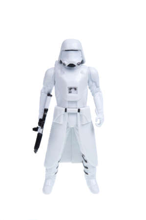 stormtrooper: Adelaide, Australia - December 02, 2015:An isolated shot of a 2015 First Order Snowtrooper action figure from the Star Wars The Force Awakens movie.Merchandise from the Star Wars movies are highy sought after collectables.