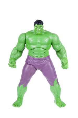 marvel: Adelaide, Australia - November 03, 2015: A studio shot of a Hulk action figure on a white background. Marvel toys are highly sought after collectables.