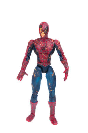 spiderman: Adelaide, Australia - January 02, 2016:An isolated shot of a Battle Damaged Spiderman action figure from the Marvel universe. Merchandise from Marvel comics and movies are highy sought after collectables.