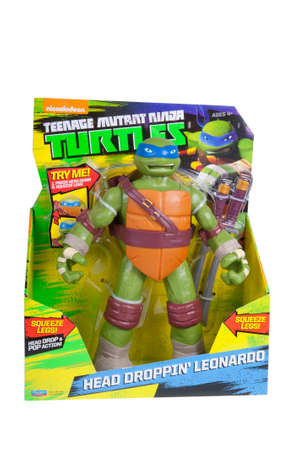 playmates: Adelaide, Australia - November 22, 2015: An isolated image of an unopened Leonardo Action Figure from the Teenage Mutant Ninja Turtles. Teenage Mutant Ninja Turtles is a very popular animated and movie series with merchandise being highly sought after col