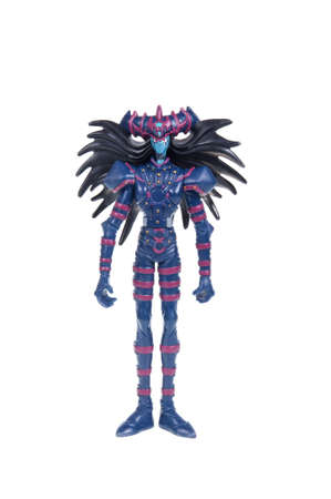 animated action: Adelaide, Australia - January 03, 2016:An isolated shot of a Magician of Black Chaos - Yu-Gi-Oh! Action Figure from the popular animated series. Merchandise from the popular animated series are highy sought after collectables.
