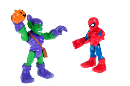 spiderman: Adelaide, Australia - November 03, 2015:An isolated shot of a Spiderman and Green Goblin action figure from the Marvel universe. Merchandise from Marvel comics and movies are highy sought after collectables.