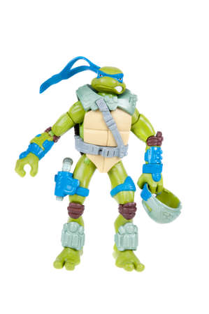 animated action: Adelaide, Australia - November 03, 2015: An isolated image of a Leonardo Action Figure from the Teenage Mutant Ninja Turtles. Teenage Mutant Ninja Turtles is a very popular animated and movie series with merchandise being highly sought after collectables. Editorial