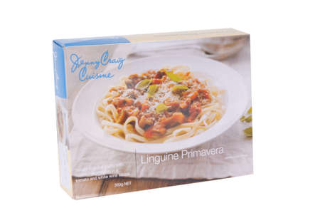 jenny: Adelaide, Australia - June 16, 2015: A box of Jenny Craig Cuisine Linguine Primavera isolated on a white background. Jenny Craig is a Weight Management and Nurtrition Company founded in the 1980s. The company now operates internationally and assists peop Editorial