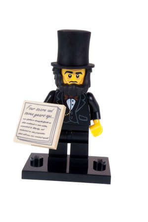 abraham lincoln: Adelaide, Australia - October 26, 2015: A studio shot of a Abraham Lincoln Lego minifigure from the Lego movie. Lego is extremely popular worldwide with children and collectors.