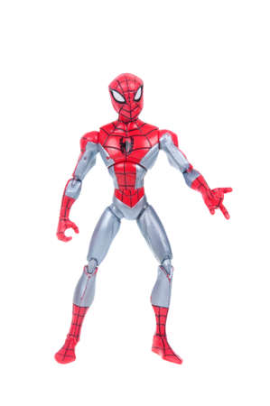 marvel: Adelaide, Australia - January 02, 2016:An isolated shot of a Spiderman action figure from the Marvel universe. Merchandise from Marvel comics and movies are highy sought after collectables.