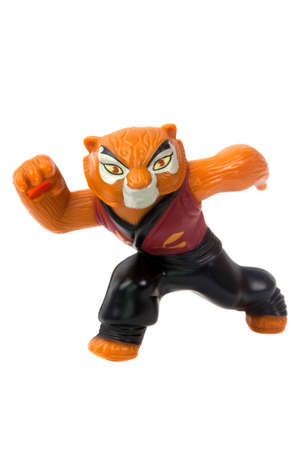 tigress: Adelaide, Australia - June 19 2015:A studio shot of a Master Tigress Kung Fu Panda 2011 Happy Meal Toy from the animated movie Kung Fu Panda. Distributed with Mcdonalds Happy Meals in 2011 to promote the animated movie.
