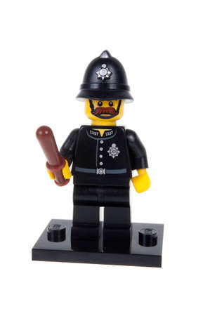 constable: Adelaide, Australia - November 13, 2015: A studio shot of a Constable Lego minifigure from the series 11 issue in 2013. Lego is extremely popular worldwide with children and collectors.