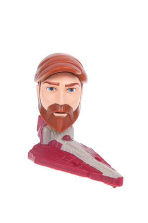 clone: Adelaide, Australia - January 03, 2016:A studio shot of a Obi-Wan Kenobi 2008 Happy Meal Toy from the animated series Star Wars - The Clone Wars. Distributed with Mcdonalds Happy Meals in 2008 to promote the animated series.