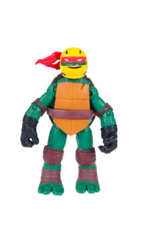 mutant: Adelaide, Australia - December 20, 2015: An isolated image of a Raphael TMNT Action Figure from the Teenage Mutant Ninja Turtles. Teenage Mutant Ninja Turtles is a very popular animated and movie series with merchandise being highly sought after collectab