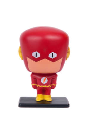 jacks: Adelaide, Australia - June 19, 2015: A studio shot of The Flash figurine from the popular DC Comics Movie and Comic series. Issued by Hungry Jacks with Childrens Meals one of Australias largest Fast Food Chains.