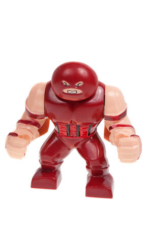 supervillian: Adelaide, Australia - December 07, 2015: A studio shot of a Juggernaut Lego Compatible minifigure from the Marvel comics universe.Lego is extremely popular worldwide with children and collectors.