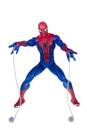 spiderman: Adelaide, Australia - December 25, 2015:An isolated shot of an Amazing Spiderman action figure from the Marvel universe. Merchandise from Marvel comics and movies are highy sought after collectables. Editorial
