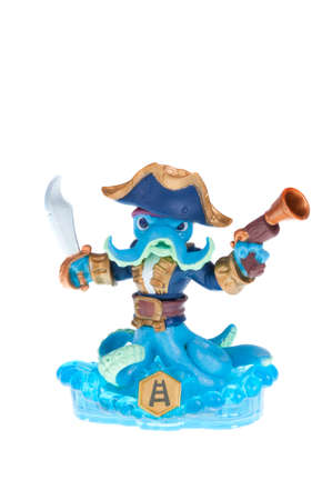 wii: Adelaide, Australia - November 30, 2015: Skylanders Swapforce game character Swashbuckler. When a Skylander figurine is placed on the Portal of Power, that character will come to life in the game with their own unique abilities and powers. The skylanders  Editorial