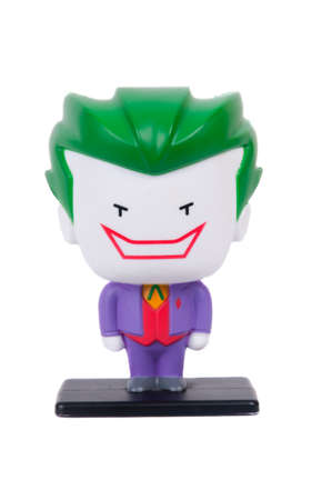 jacks: Adelaide, Australia - June 19, 2015: A studio shot of a The Joker figurine from the popular DC Comics Movie and Comic series. Issued by Hungry Jacks with Childrens Meals one of Australias largest Fast Food Chains. Editorial