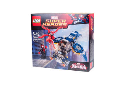 carnage: Adelaide, Australia - October 26, 2015: A studio shot of a Lego 76036 Carnages SHIELD Sky Attack Kit from the popular Lego City series. Lego is extremely popular worldwide with children and collectors.