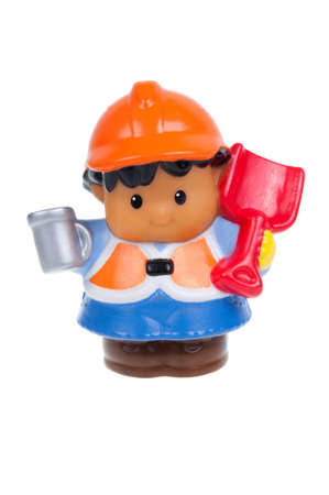 Adelaide, Australia - January 15 2016: A studio shot of a Fisher Price Little People Construction Worker. A popular developmental toy for young children.