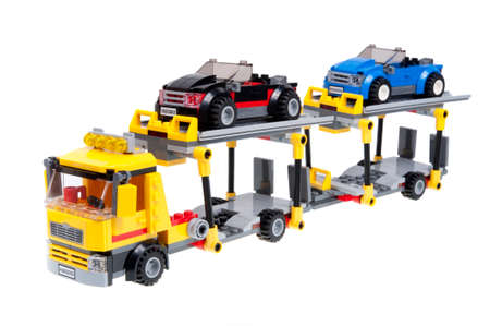 Adelaide, Australia - December 07,2015:A studio shot of the Lego City 60060 Auto Transporter kit. Lego is extremely popular worldwide with children and collectors.
