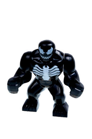 supervillian: Adelaide, Australia - December 07, 2015: A studio shot of a Venom Lego Compatible minifigure from the Marvel comics universe.Lego is extremely popular worldwide with children and collectors.