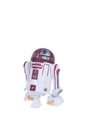 action figure: Adelaide, Australia - January 03, 2016:An isolated shot of a R4-P17 action figure from the Star Wars movies.Merchandise from the Star Wars movies are highy sought after collectables.