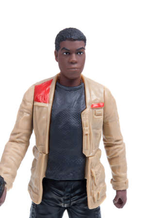 sought: Adelaide, Australia - December 02, 2015:An isolated shot of a 2015 Finn action figure from the Star Wars The Force Awakens movie.Merchandise from the Star Wars movies are highy sought after collectables.