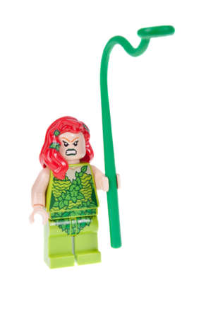batman: Adelaide, Australia - October 13, 2015: A studio shot of a Poison Ivy Lego minifigures from the Batman DC comics and movies. Lego is extremely popular worldwide with children and collectors.