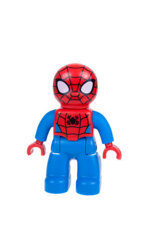 spiderman: Adelaide, Australia - December 27, 2015: A studio shot of a Spiderman Lego duplo minifigure. Lego Duplo is desinged for younger children with larger blocks and figures. Lego is extremely popular worldwide with children and collectors.