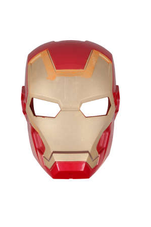 sought: Adelaide, Australia - August 4, 2015: An Iron Man mask isolated on a white background. Iron Man is one of the most popular Marvel Comics characters. Merchandise from Marvel Comics and Movies are highly sought after collectables.