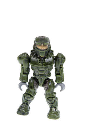 xbox: Adelaide, Australia - December 7, 2015: A Masterchief Mega Bloks figurine from the popular XBOX game Halo isolated on a white background. The Halo series of video games is one of the most popular Xbox game titles of all time.