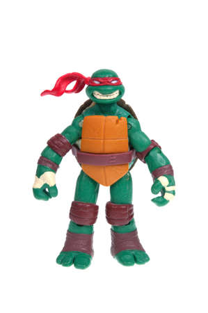 mutant: Adelaide, Australia - December 11, 2015: An isolated image of a Raphael TMNT Action Figure from the Teenage Mutant Ninja Turtles. Teenage Mutant Ninja Turtles is a very popular animated and movie series with merchandise being highly sought after collectab