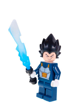 collectable: Adelaide, Australia - October 26 2015:A studio shot of a Vegeta custom Lego minifigure from the popular Dragonball Z animated series. Lego is extremely popular worldwide with children and collectors.