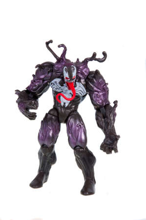 spiderman: Adelaide, Australia - November 22, 2015: A studio photograph of a venom action figure from the Spiderman universe. Merchandise from Marvel comics and movies are highly sought after collectables.