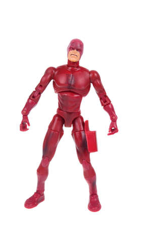 daredevil: Adelaide, Australia - January 02, 2016:An isolated shot of a Daredevil action figure from the Marvel universe. Merchandise from Marvel comics and movies are highy sought after collectables.