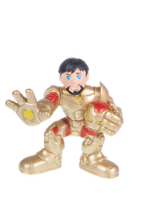 marvel: Adelaide, Australia - October 12, 2015: A studio shot of an Iron Man action figure from Marvel Comics. Marvel comics and movies are very popular and merchandise are highly sought after collectables. Editorial
