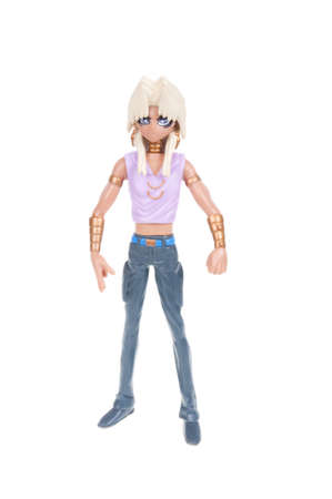 animated action: Adelaide, Australia - January 03, 2016:An isolated shot of a Marik Ishtar - Yu-Gi-Oh! Action Figure from the popular animated series. Merchandise from the popular animated series are highy sought after collectables.