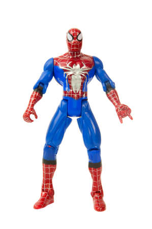 sought: Adelaide, Australia - May 04, 2015:An isolated shot of a Spiderman action figure from the Marvel universe. Merchandise from Marvel comics and movies are highy sought after collectables. Editorial