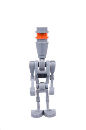 assassin: Adelaide, Australia - October 02, 2015: A studio shot of an Assassin Droid Lego minifigure from the Star Wars Movie Series. Lego is extremely popular worldwide with children and collectors. Editorial